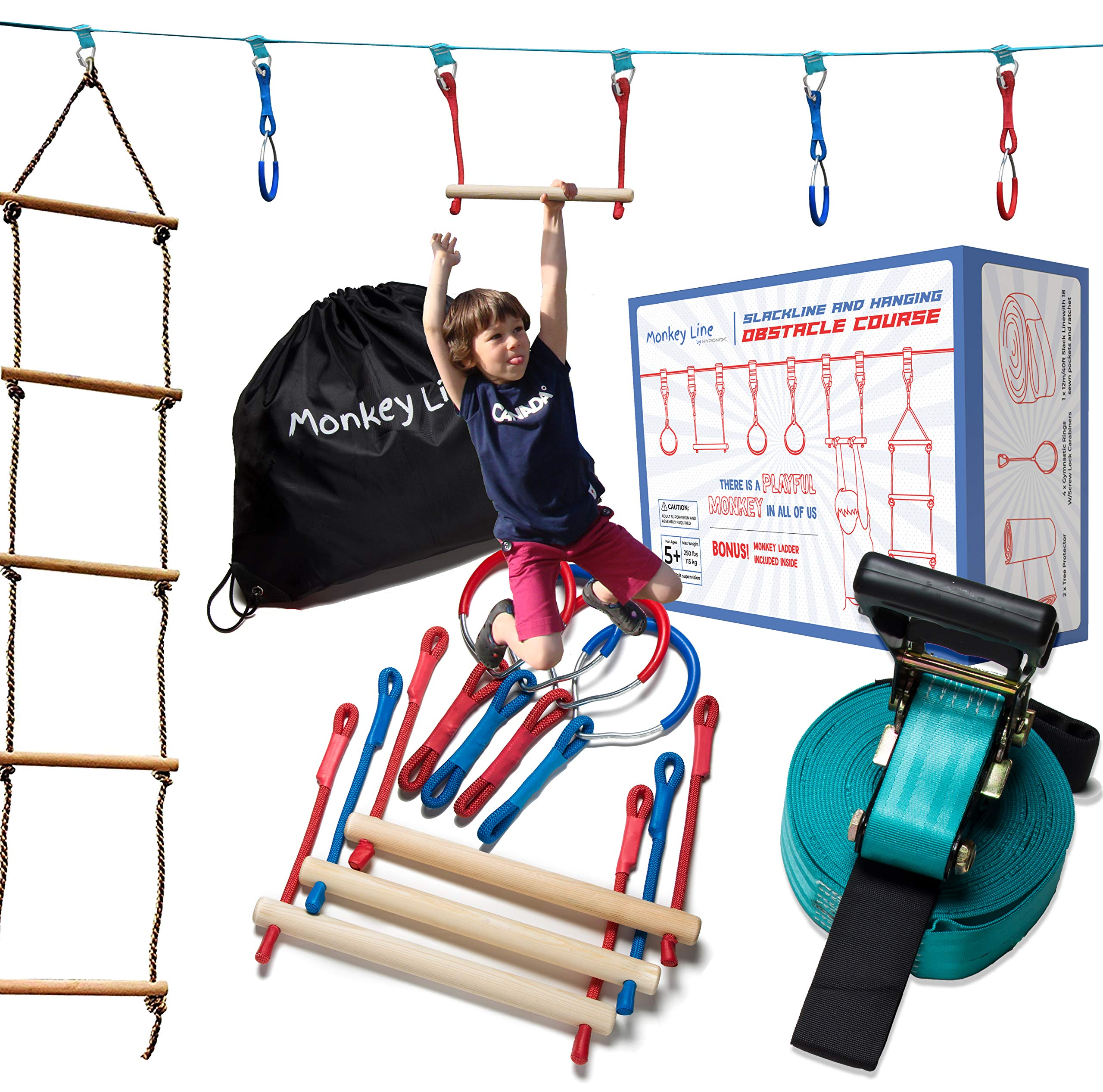 Ninja Warrior Training Equipment Kids 50' Feet | W/ Ladder | The Perfect Outdoor Ninja Line Hanging Obstacle Course | Ninja Warrior Obstacle Kit by Monkey Line
