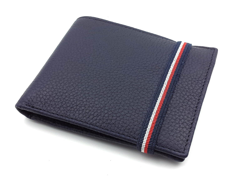 FJR-ArtPiel - Cartera, billetera, tarjetero, monedero tipo americano Piel Ubrique con cierre de elástico - Alta Calidad - Azul Marino