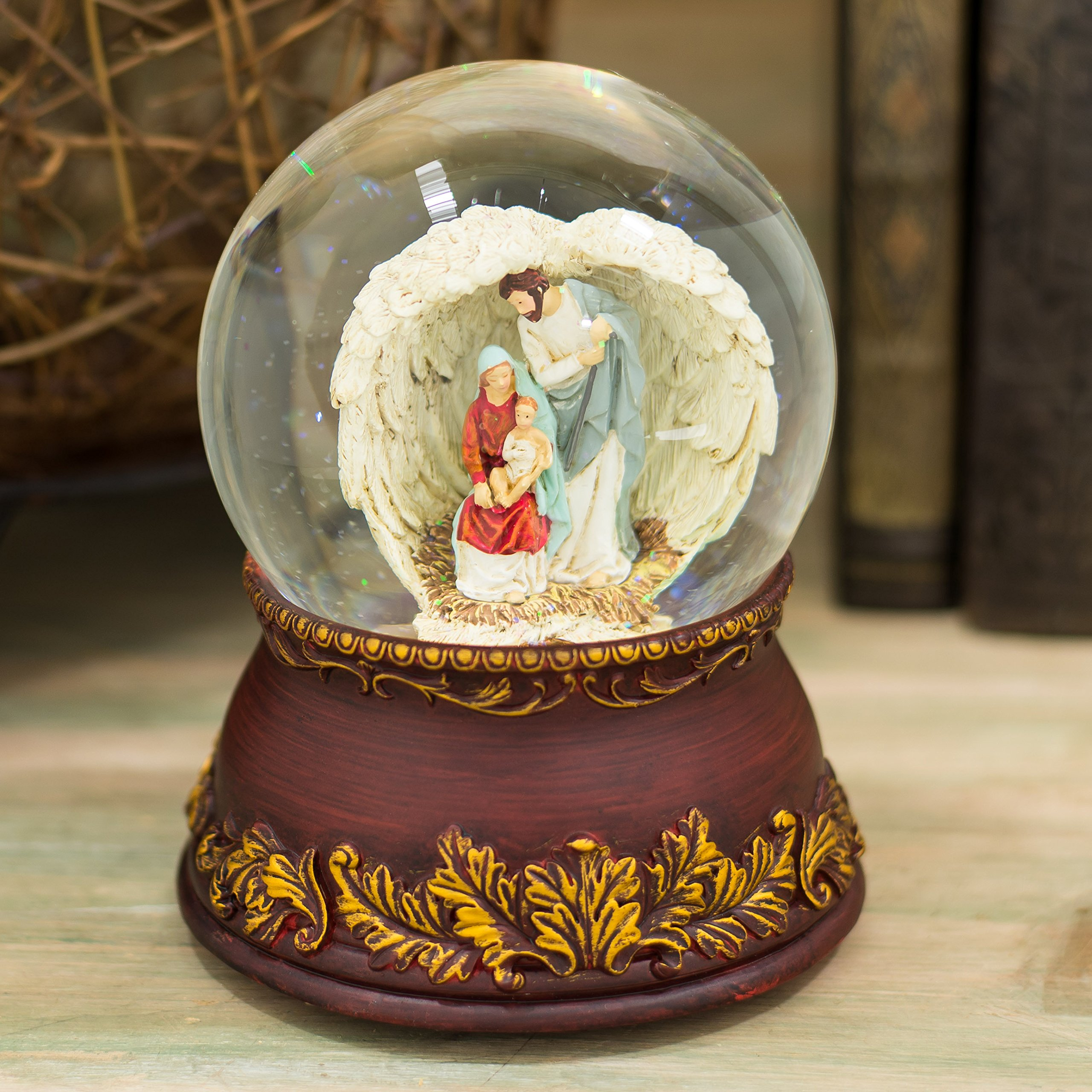 Holy Family Angel Wings Filigree 120MM Musical Glitterdome Water Globe Plays O Come All Ye Faithful by Roman (Image #2)