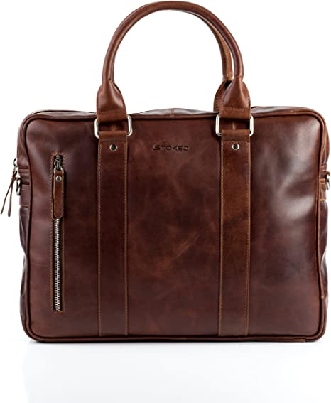 STOKED Laptop Bag Nathan Large Business Briefcase Real Leather 15.6