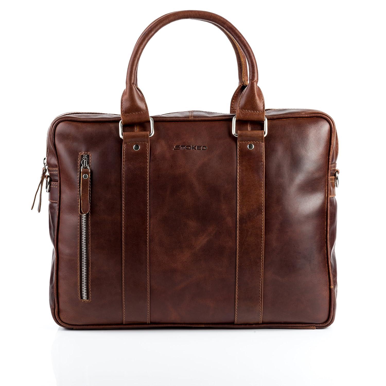 STOKED Aktentasche NATHAN - Laptoptasche groß fit für 15, 4 - Businesstasche mit Schultergurt echt Leder braun-cognac