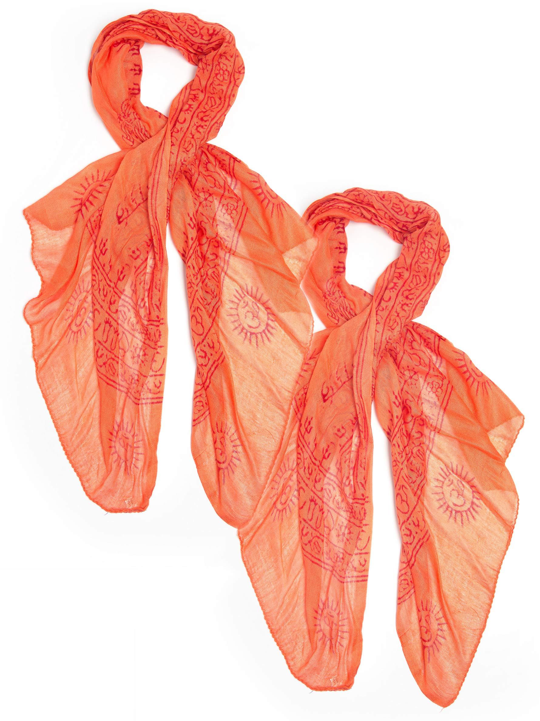 Bohomonde Indian Om Mantra Scarf, 100% Cotton (2 pack, Orange)