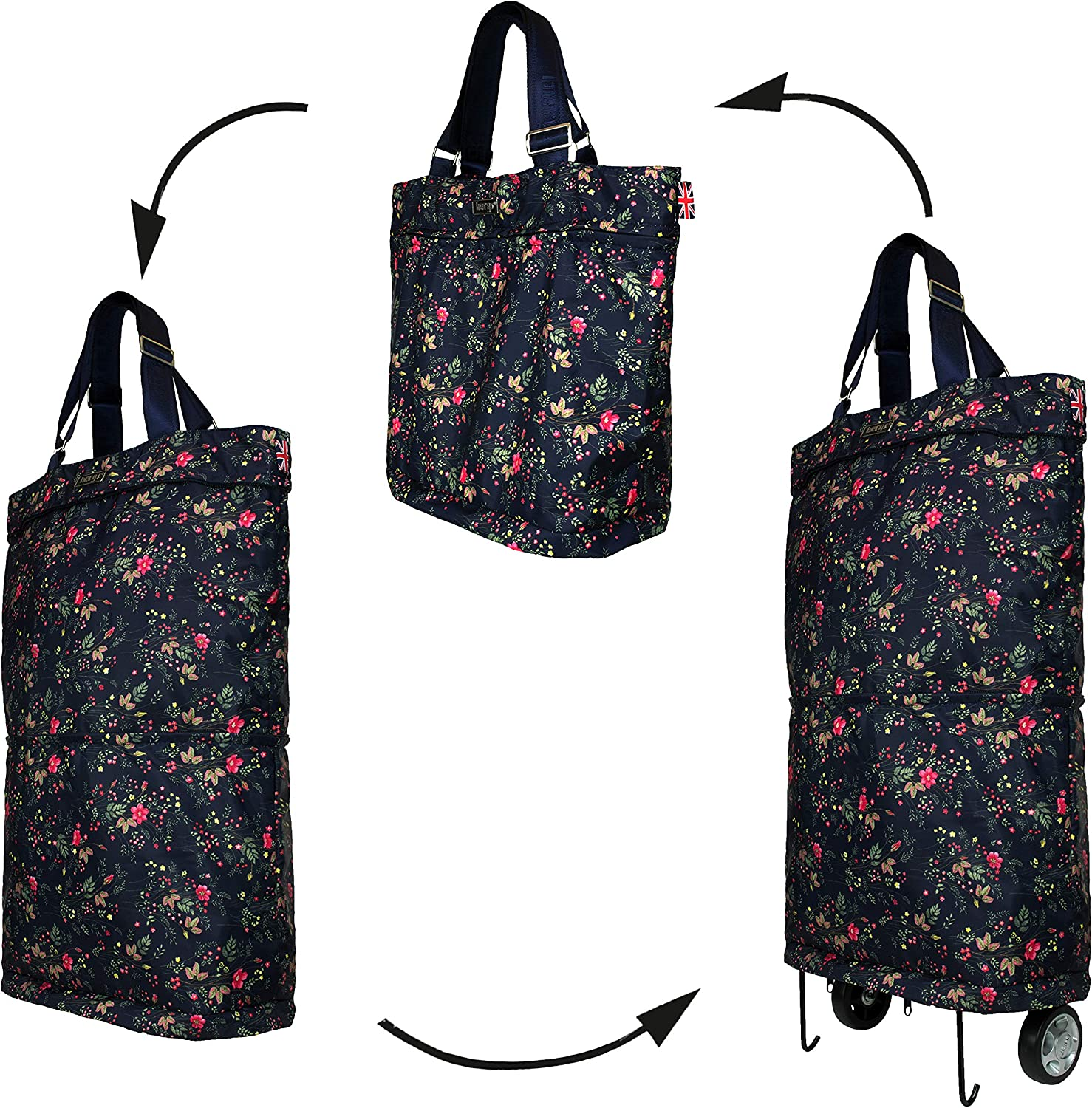 Cabin Size Bergs 3in1 Multifunctional Bag Navy with Dog Roses Tote Handbag//Shopper//Wheelie