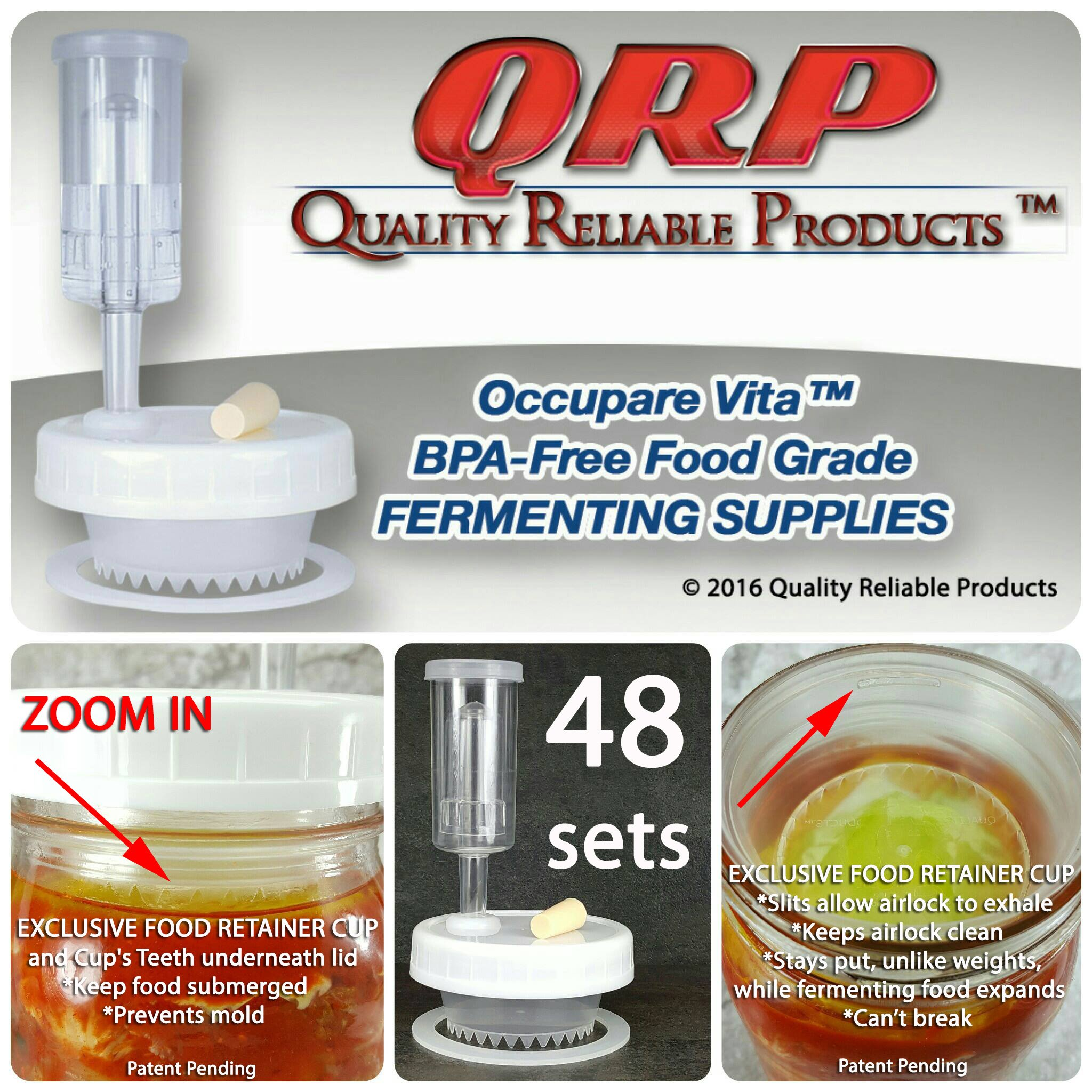 48 QRP No Messy Overflow No Weights Needed Mason Jar Fermentation Kits with Exclusive Food Retainer Cups keep food submerged in brine (CLUB PACK 48 WIDE MOUTH KITS) by Quality Reliable Products
