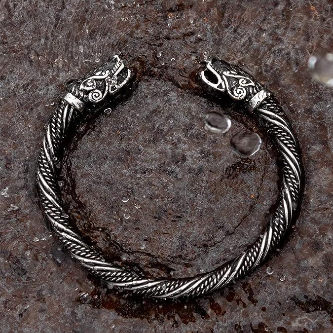 Wikinger Bracelet pour homme en acier inoxydable massif Fait pour l/éternit/é sans d/écoloration