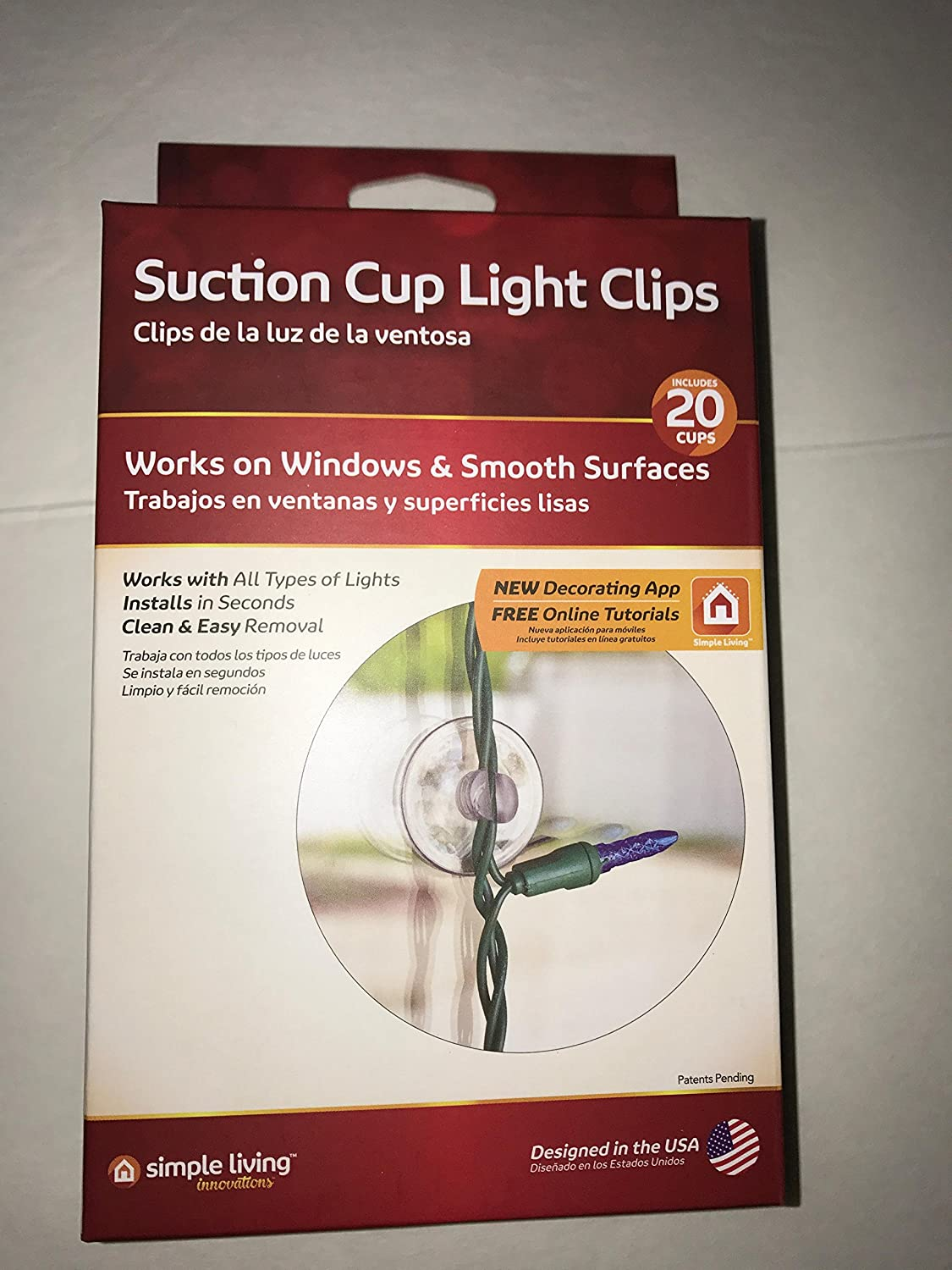 Simple living Suction Cup Light Clips. Fasteners, hook,