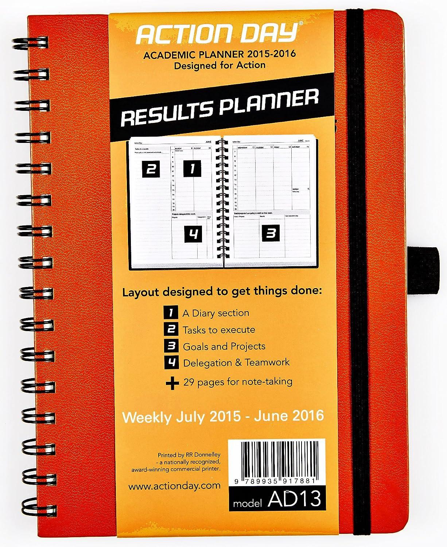 Action Day - Agenda escolar semanal 2015-2016 con hojas de tamaño 6 x 8 y formato con diseño que fomenta la realización de tareas: agenda del ...
