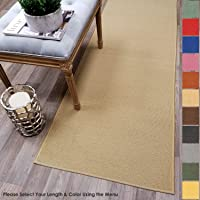 Custom Size Beige Solid Plain Rubber Backed Non-Slip Hallway Stair Runner Rug Carpet 22 inch Wide Choose Your Length 22in X 1ft