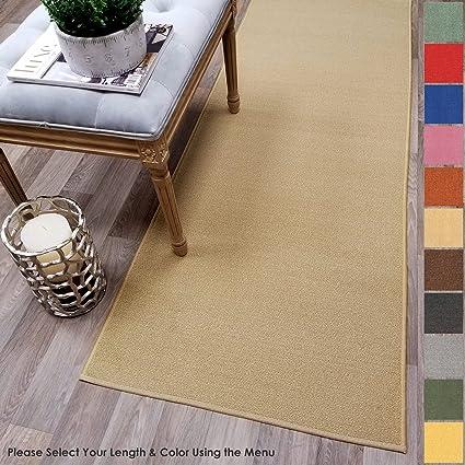Custom Size BEIGE Solid Plain Rubber Backed Non Slip Hallway Stair Runner  Rug Carpet 22