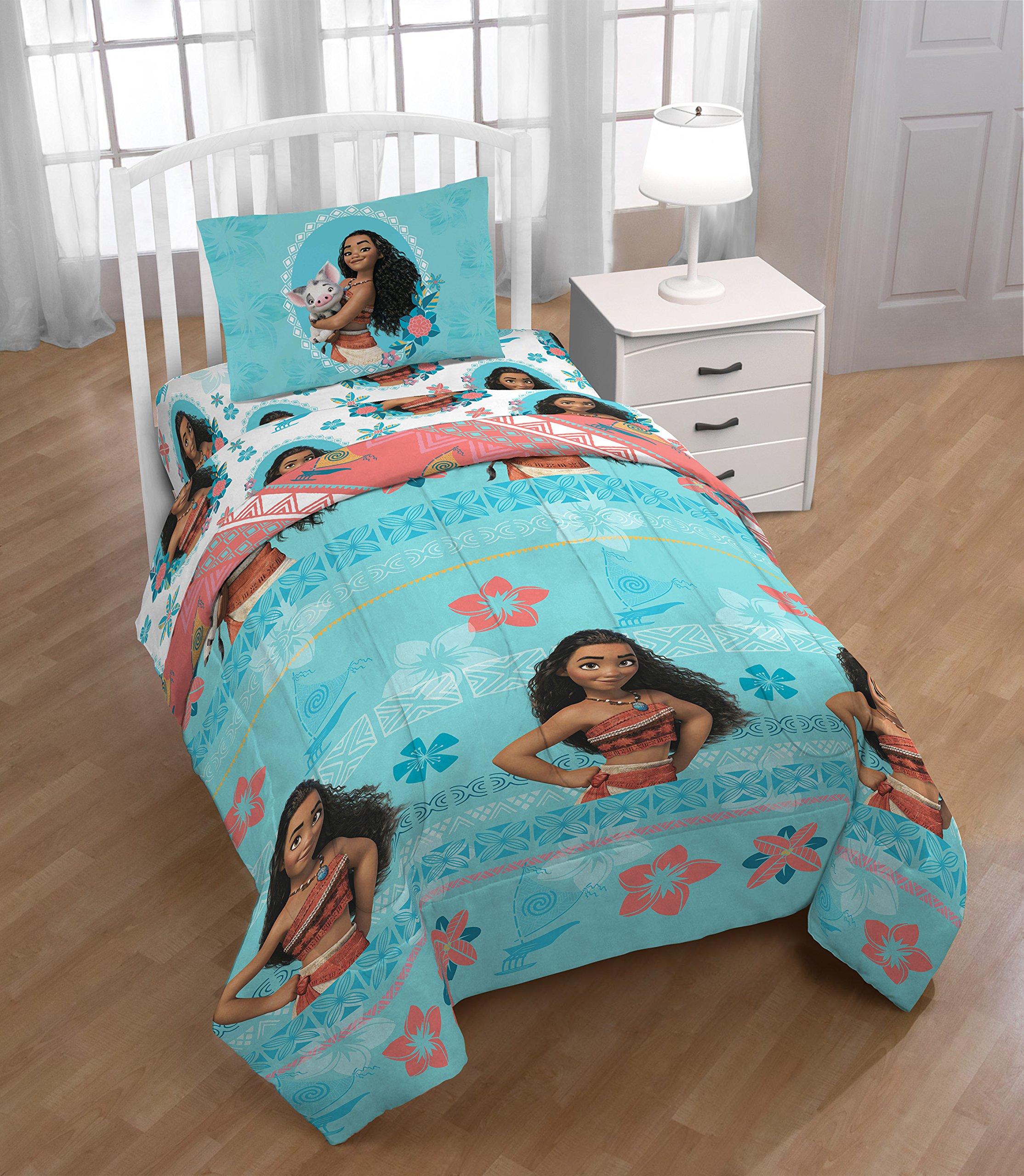 N2 5 Piece Kids Girls Hawaii Blue Moana Comforter Twin Set, Disney Bedding Surfing Hawaiian Themed Tropical Botanical Flowers Vibrant Colorful Pua Pig Pillow Orange Pink Yellow, Polyester