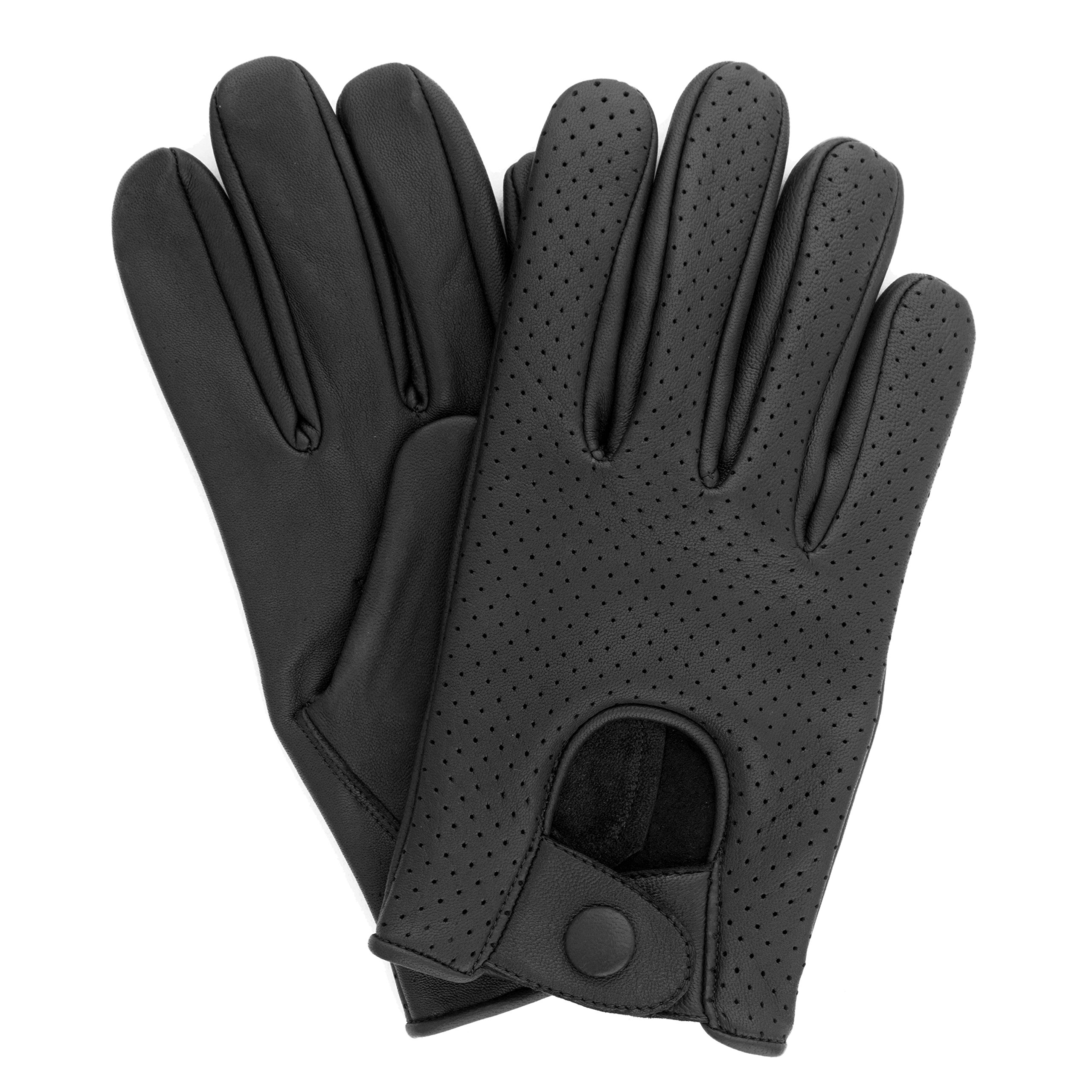 Swift Wears Men's Lambskin Leather Driving Gloves Black Chauffeur (Medium)