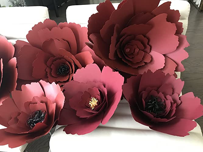 Amazon Com Set Of 3 Giant Maroon Paper Flower Backdrop Giant Paper