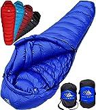 Hyke & Byke Quandary -10 Grad C Down Schlafsack für Backpacking, Ultraleicht Entenfeder Schlafsack mit leichtem Kompressions-Sack und Fünf (5) Farboptionen