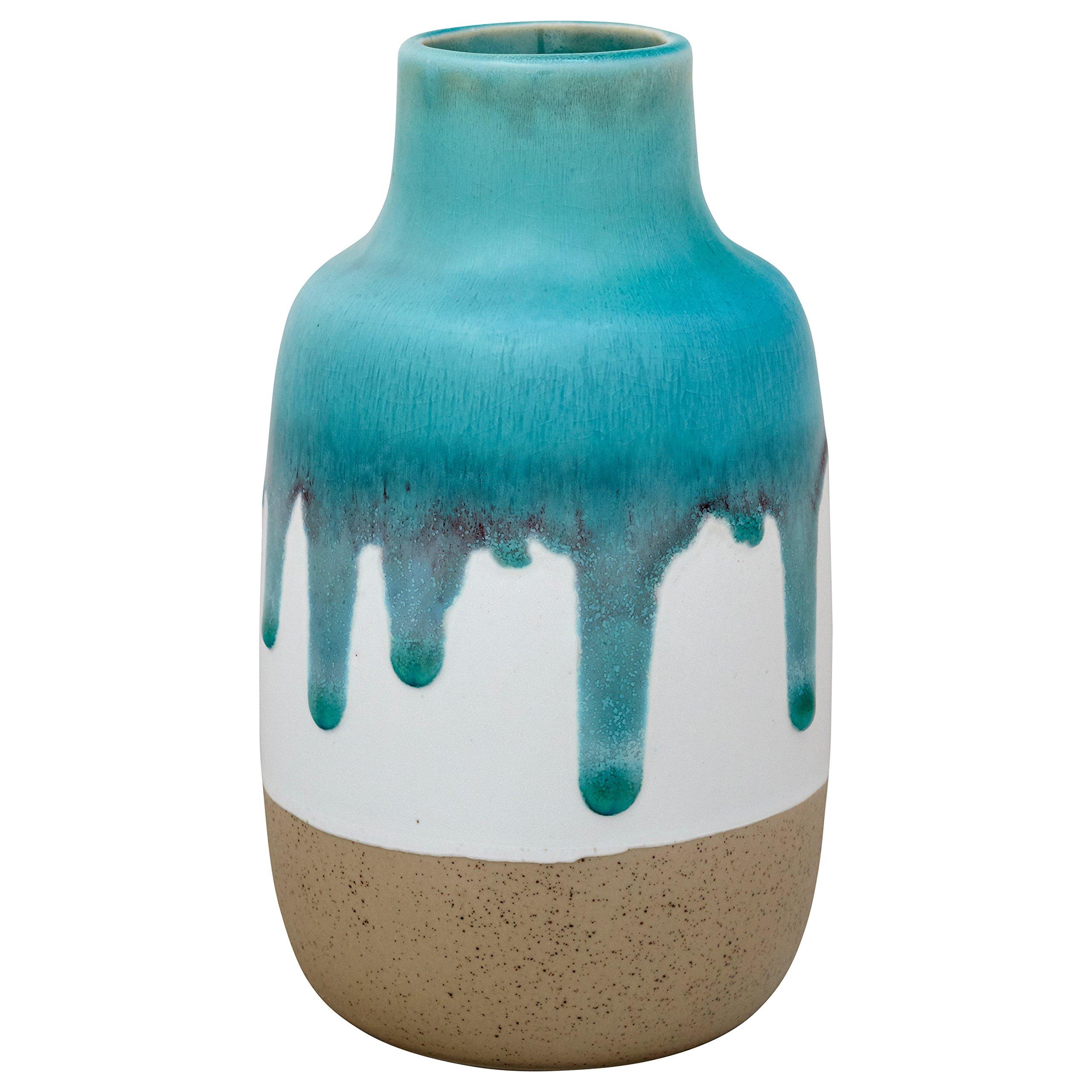 Stone & Beam Modern Ceramic Flower Vase, 7'' H, Teal/White