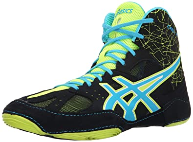 ASICS Men's Cael V6.0 Wrestling Shoe, Black/Atomic Blue/Flash Yellow