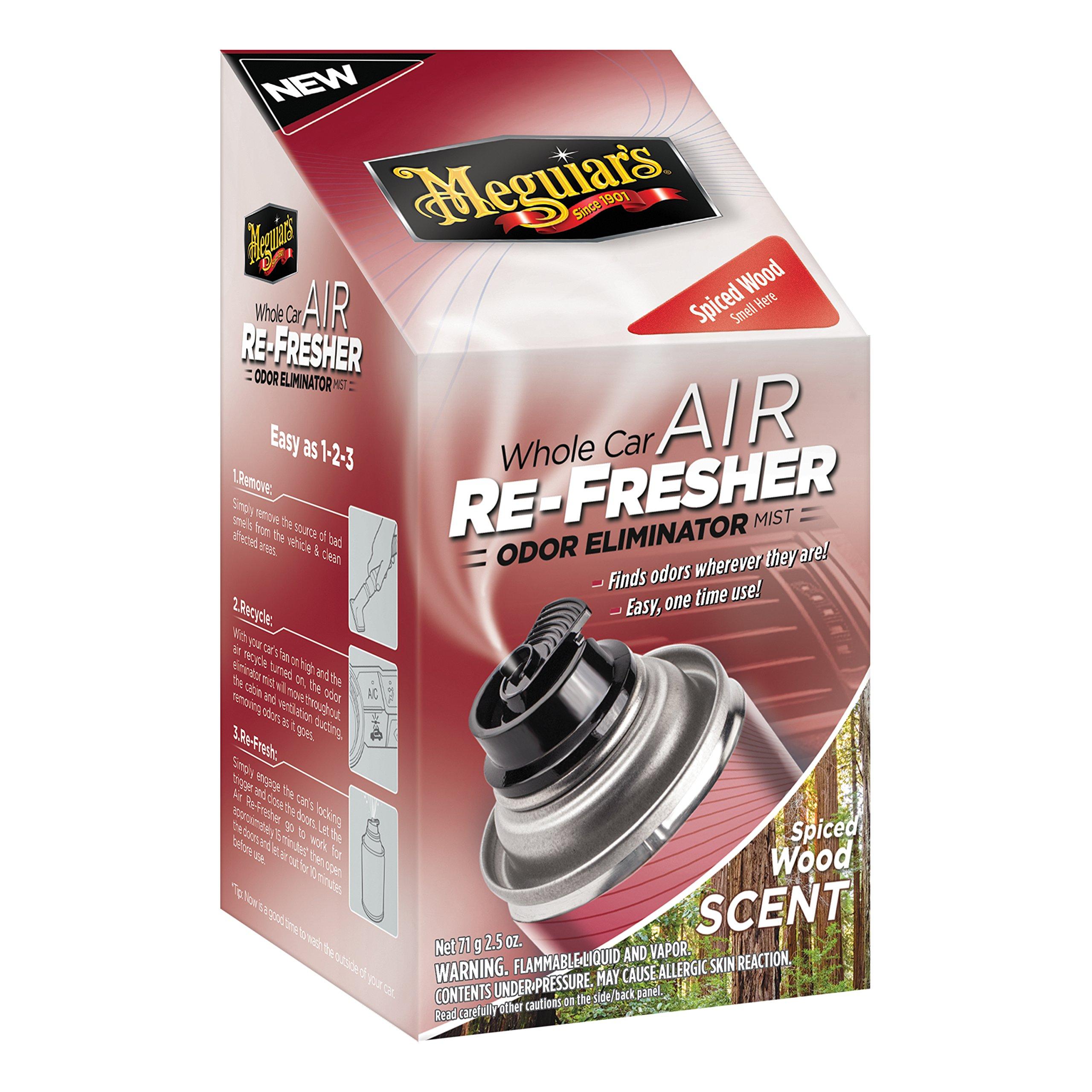 Meguiar's G19702 Whole Car Air Refresher Odor Eliminator (Spiced Wood Scent), 2.5 oz.