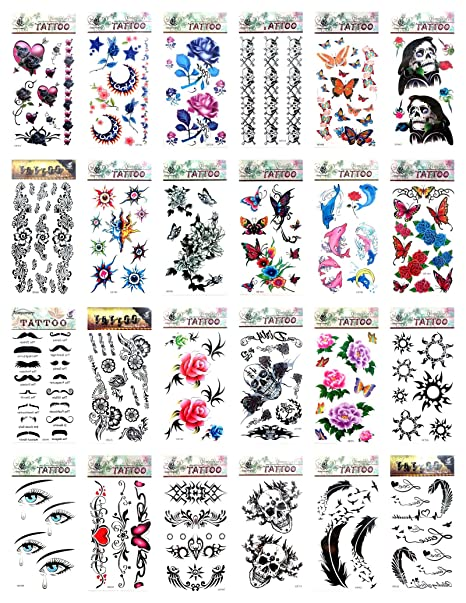 Amazon Com 24 Sheets Rose Flower Heart Butterfly Temporary Tattoo