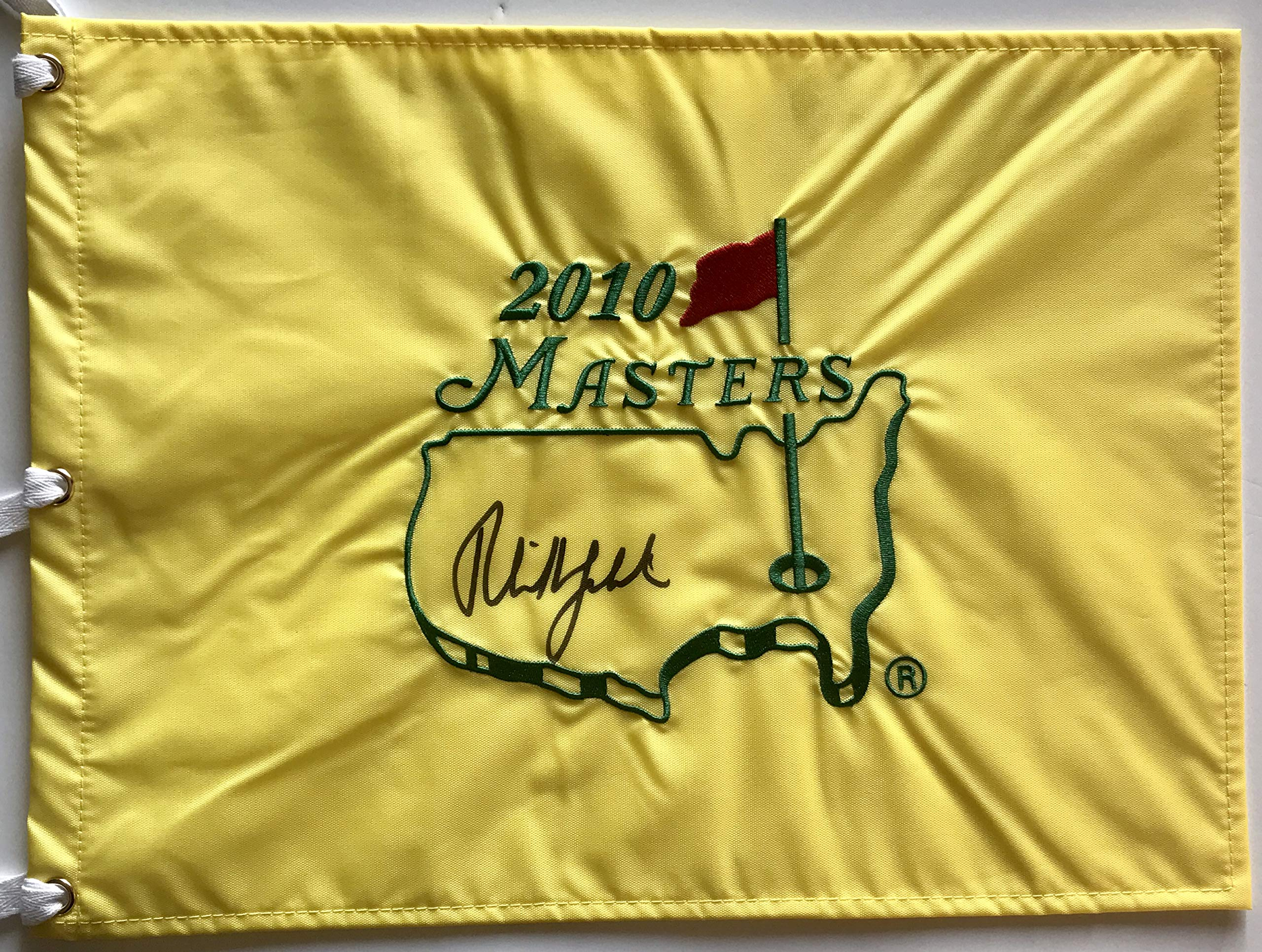 Phil Mickelson signed 2010 Masters golf flag 2018 ryder cup pga