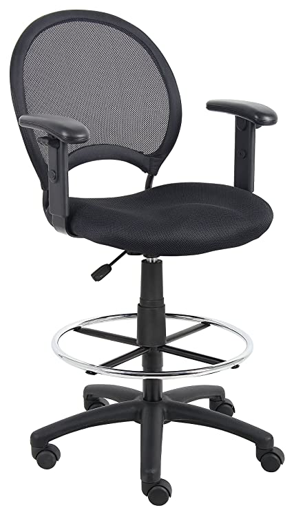 Merveilleux Boss Office Products B16216 Mesh Drafting Stool With Adjustable Arms In  Black