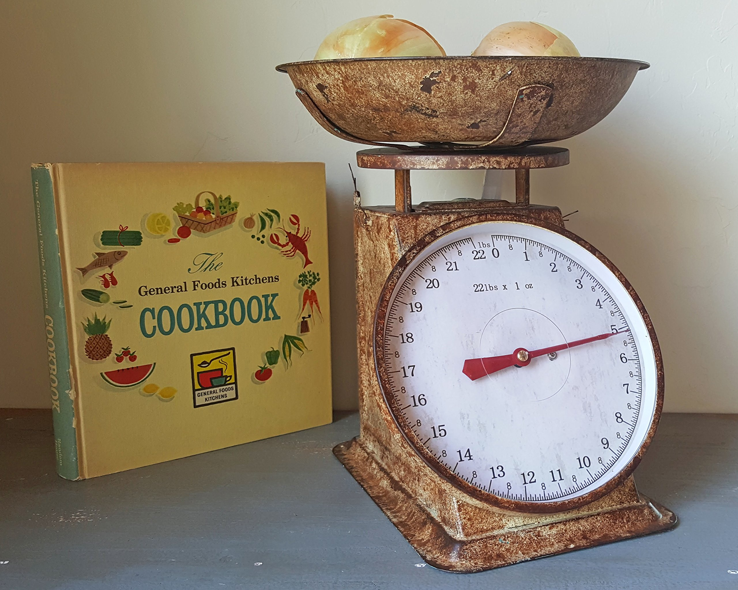Charming Rustic Vintage Antique Style Large Metal Faux Rust Kitchen Food Scale by Rustalgic