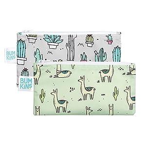 Bumkins Snack Bags, Reusable, Washable, Food Safe, BPA Free, 2-Pack – Llama / Cactus