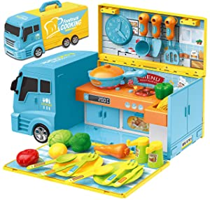 Food Truck for Kids – 2 in 1 Kitchen Playset + Toy Vehicle, 33 Pc Cooking for Girls & Boys, Food Toy Kitchen Cart with Sounds & Lights – Pretend Play Educational Toy for Toddlers 1 2 3 4 5 6 Years Old