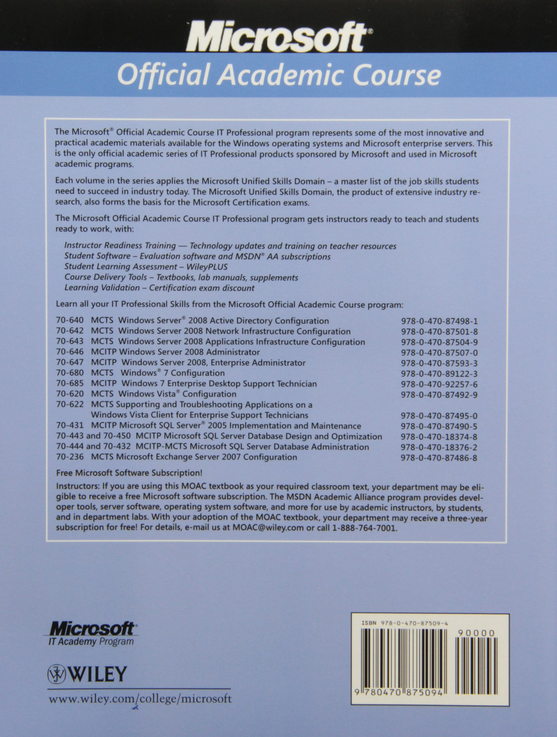 Exam 70-680: Windows 7 Configuring with MOAC Labs Online Set: Microsoft  Official Academic Course: 9780470891247: Operating Systems: Amazon Canada