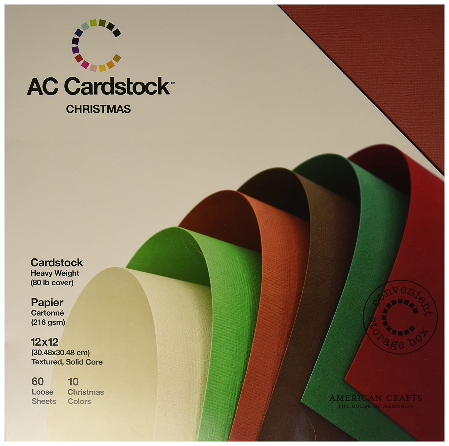 American Crafts 71259 12-Inch by 12-Inch Cardstock Variety Pack, White