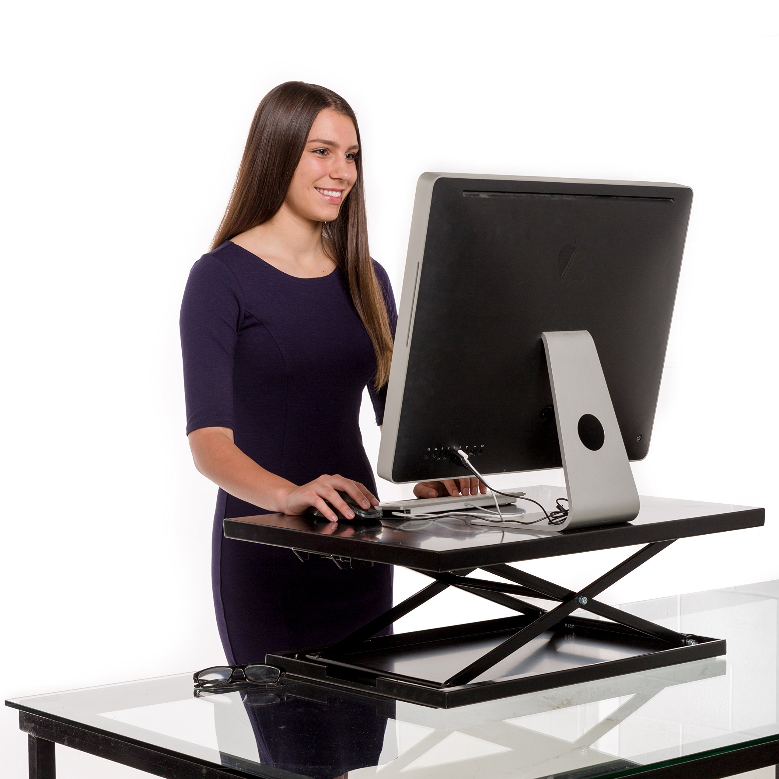 Vertical Vitality Air Glider Standing Desk - Best Sit to Stand Up Desktop Converter for Your Laptop or Computer Monitor – No Assembly Height Adjustable Desk Converts Instantly