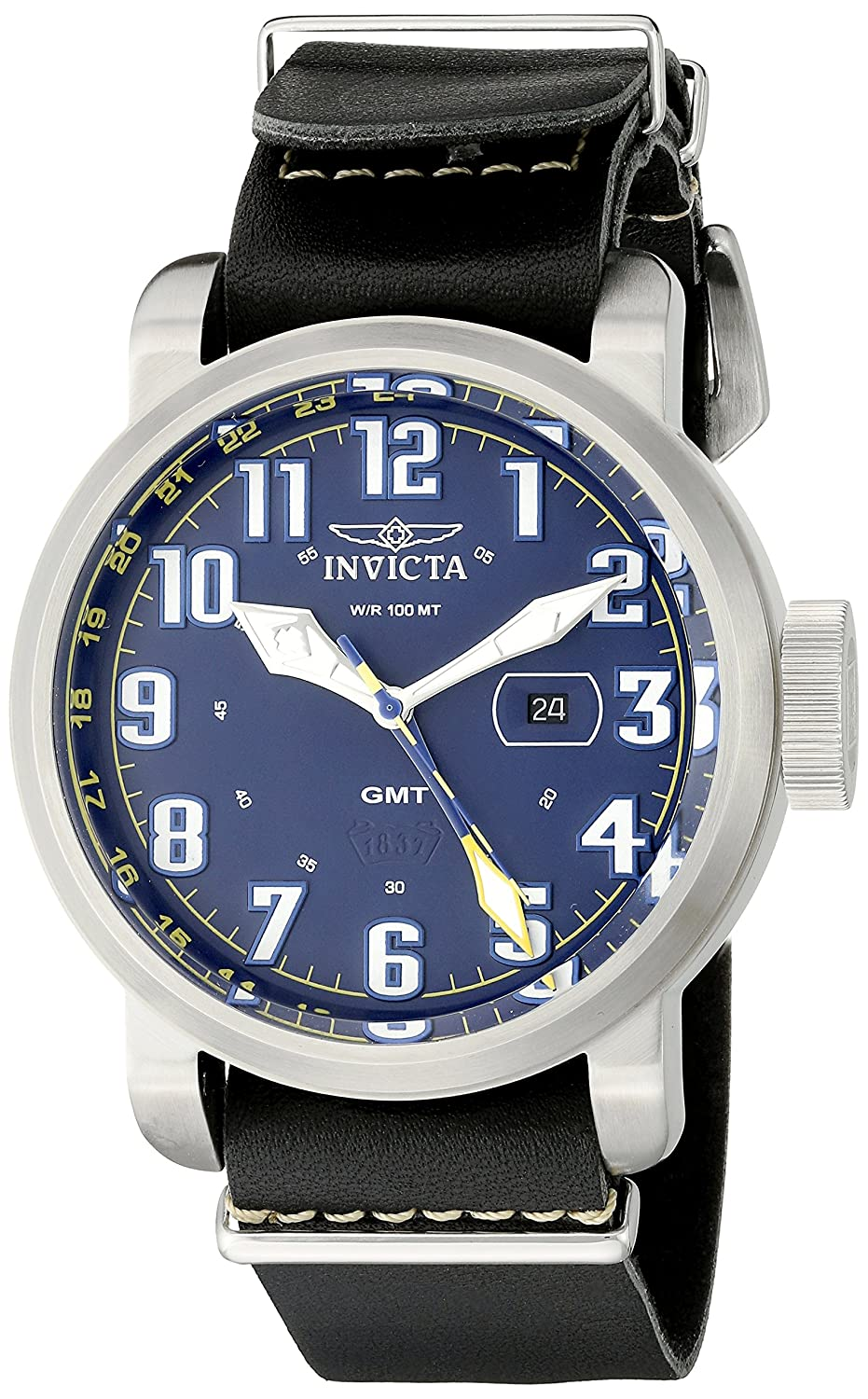 Amazon.com: Invicta Mens 18887 Aviator Analog Display Swiss Quartz Black Watch: Watches