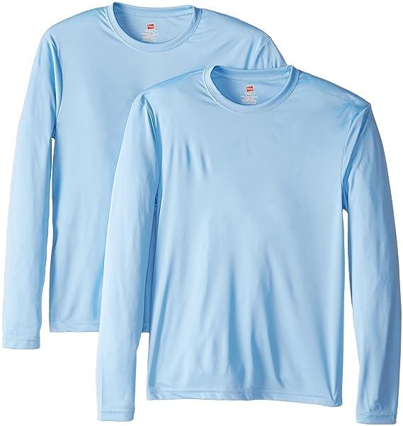 54845c8ccbfb Hanes Men's Long Sleeve Cool Dri T-Shirt UPF 50+ (Pack of 2) at ...