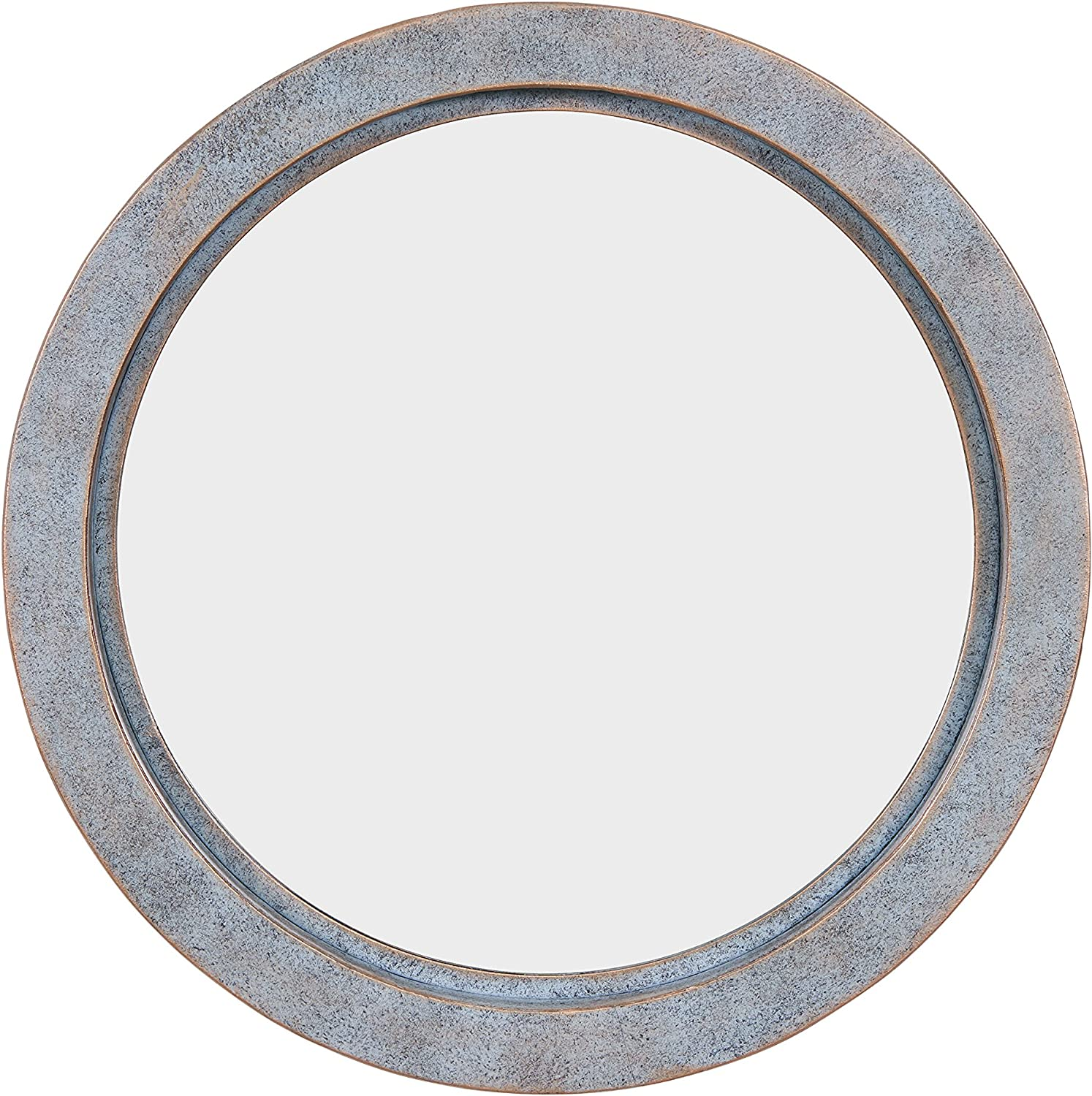 Danya B. FHB1715 Modern Industrial Floating Round 20-Inch Wall Mirror with Antiqued Copper Metal Frame - Contemporary Framed Hanging Mirror