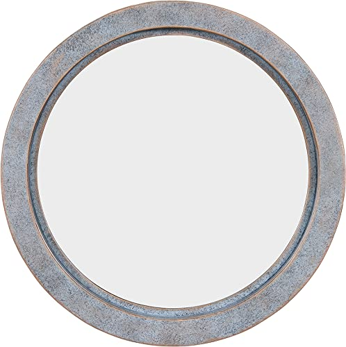 Danya B. FHB1715 Modern Industrial Floating Round 20-Inch Wall Mirror with Antiqued Copper Metal Frame – Contemporary Framed Hanging Mirror