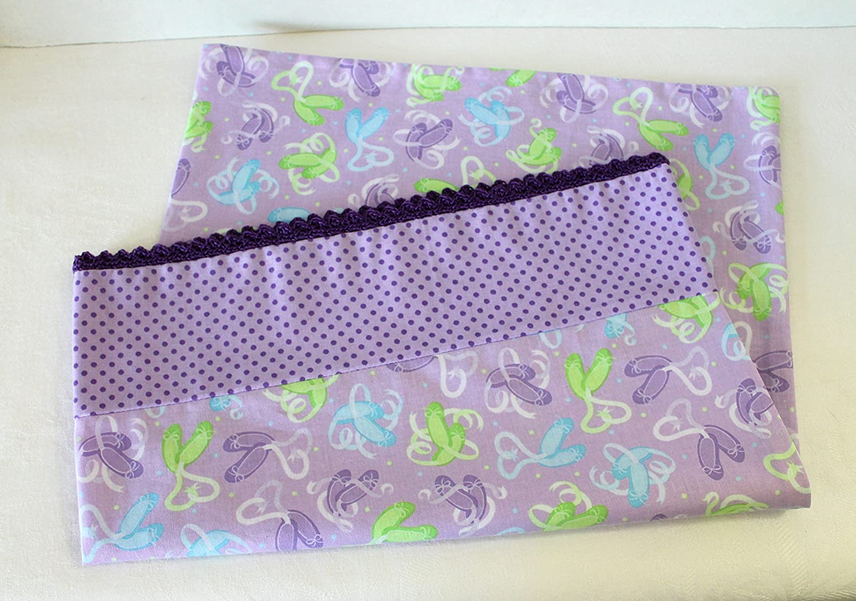 Purple Ballet Slippers Toddler Pillowcase with Crochet Edge