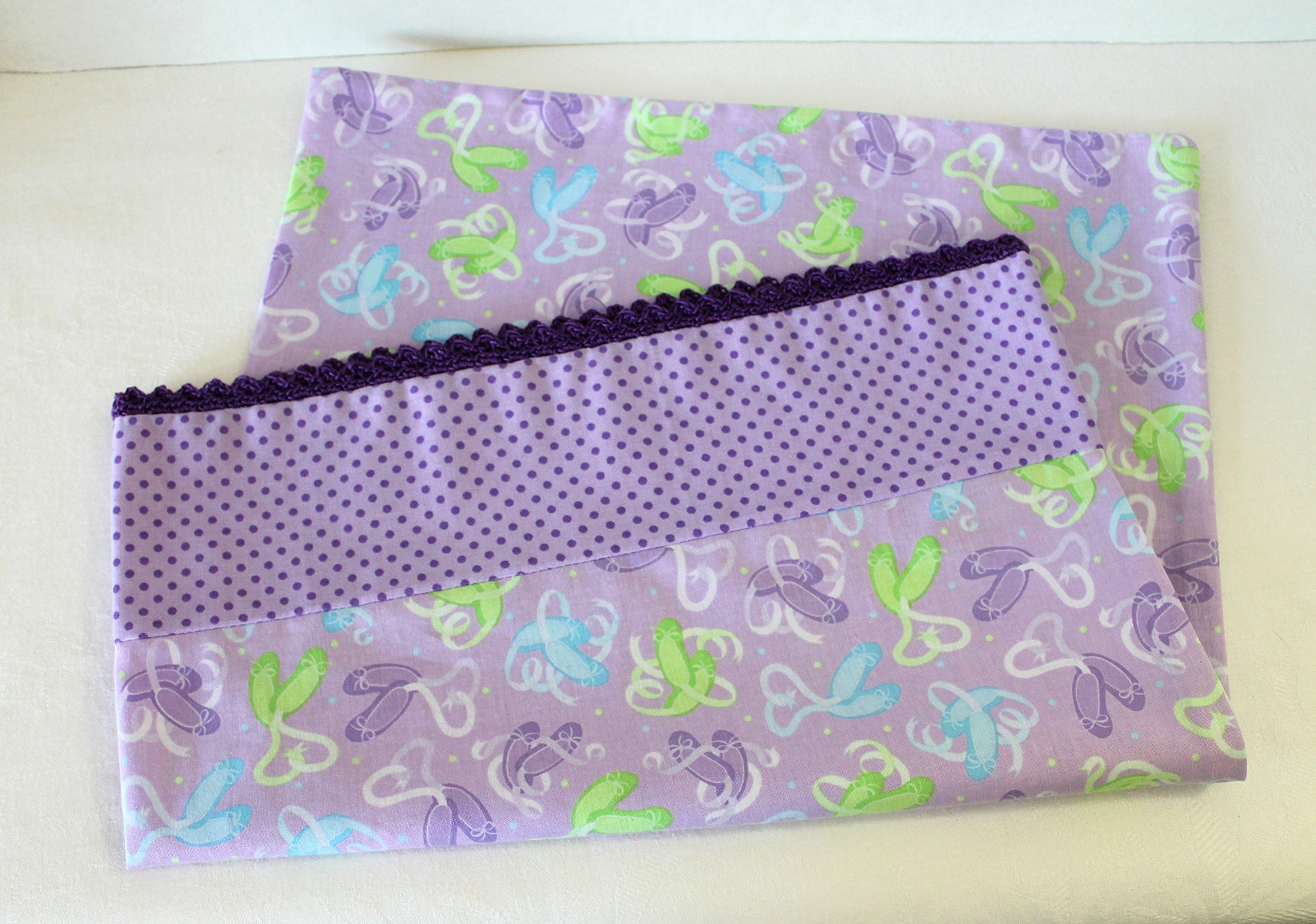 Purple Ballet Slippers Toddler Pillowcase with Crochet Edge