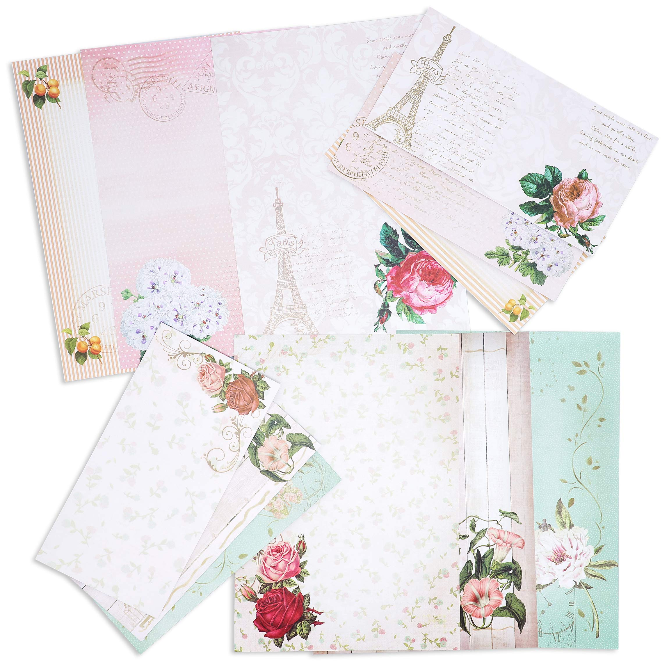 Paper Junkie 60 Sheets One Sided Vintage Floral Letter Stationery 10.2 x 7.25 Inches with 30 Matching Envelopes 8.45 x 4.3 Inches by Paper Junkie