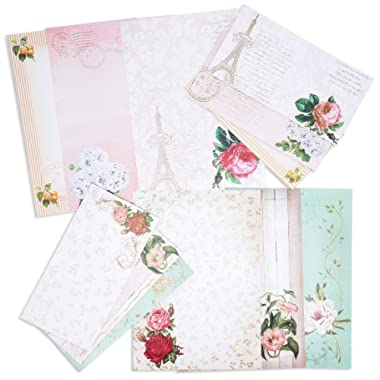 Paper Junkie 60 Sheets One Sided Vintage Floral Letter Stationery 10.2 x 7.25 Inches with 30 Matching Envelopes 8.45 x 4.3 Inches