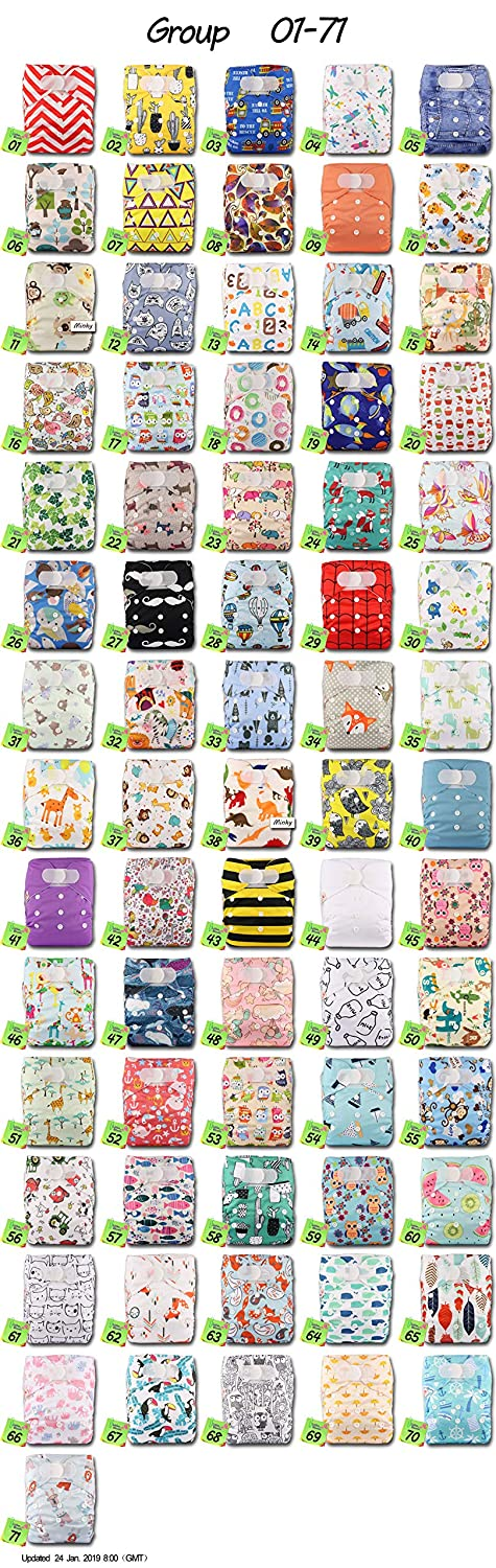 Pattern 34 Set of 1 Littles /& Bloomz Reusable Pocket Cloth Nappy with 1 Bamboo Insert Fastener: Hook-Loop