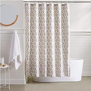AmazonBasics Grey Diamond Shower Curtain - 72 Inch