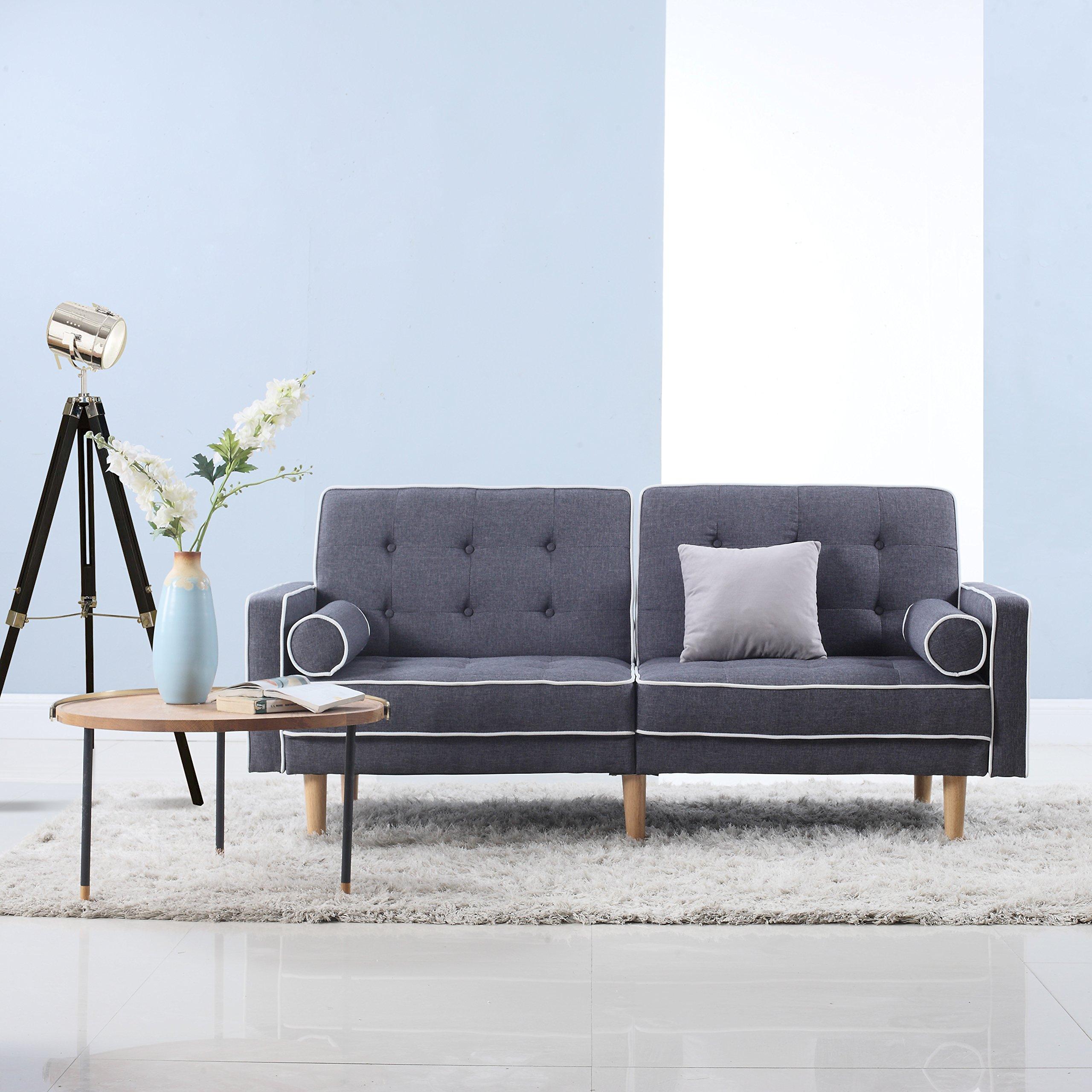 DIVANO ROMA FURNITURE Mid Century Modern Two Tone Splitback Tufted Linen Fabric Futon (Dark Grey) by Divano Roma Furniture