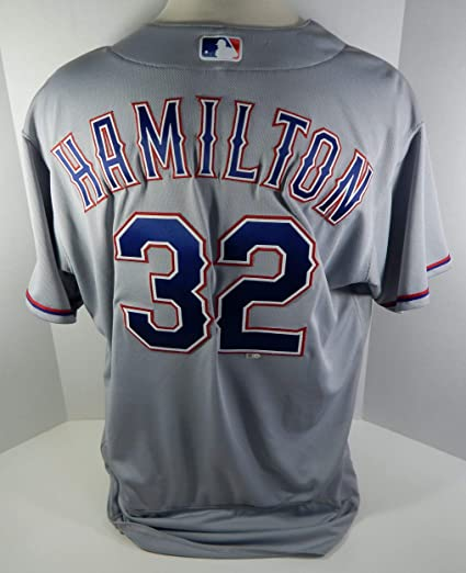 b34686f35 2016 Texas Rangers Josh Hamilton  32 Game Issued Grey Jersey RNGRS172 -  Game Used MLB