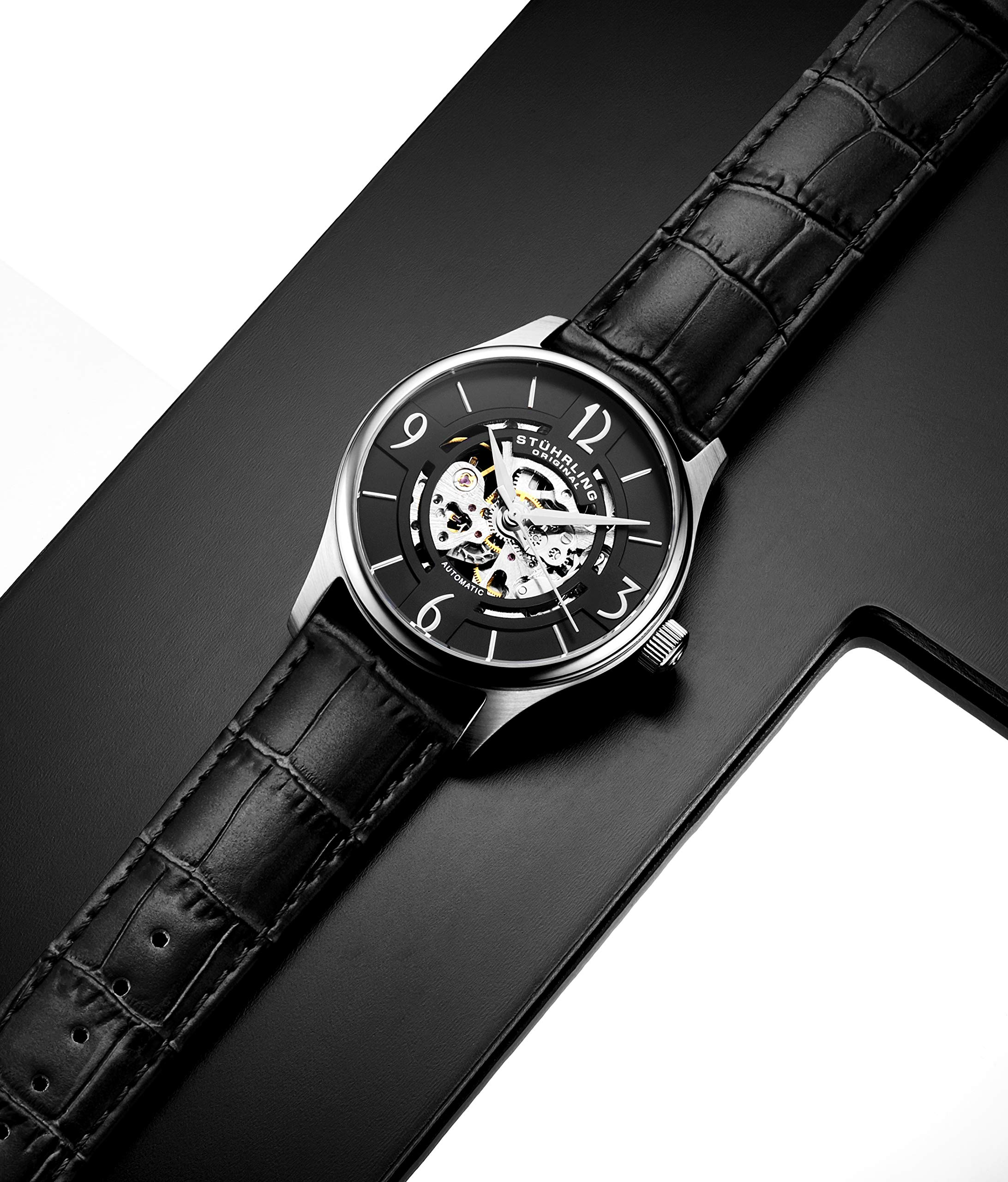 Stuhrling Original Mens''Specialty Atrium'' Skeleton Automatic Self Winding Dress Watch with Premium Leather Band by Stuhrling Original (Image #9)