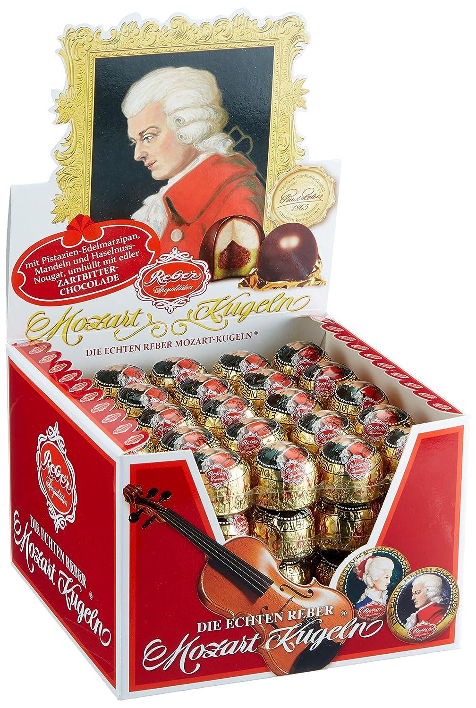 Reber Echte Reber Mozart-Kugeln, Pralinen aus Zartbitter-Schokolade,  Marzipan, Nougat, Tolles Geschenk, 100er-Aufstellkarton: Amazon.de:  Lebensmittel & Getränke