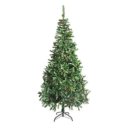 aleko ctpc95h17 luscious 8 feet christmas tree with white tips and decorative pine cones artificial holiday