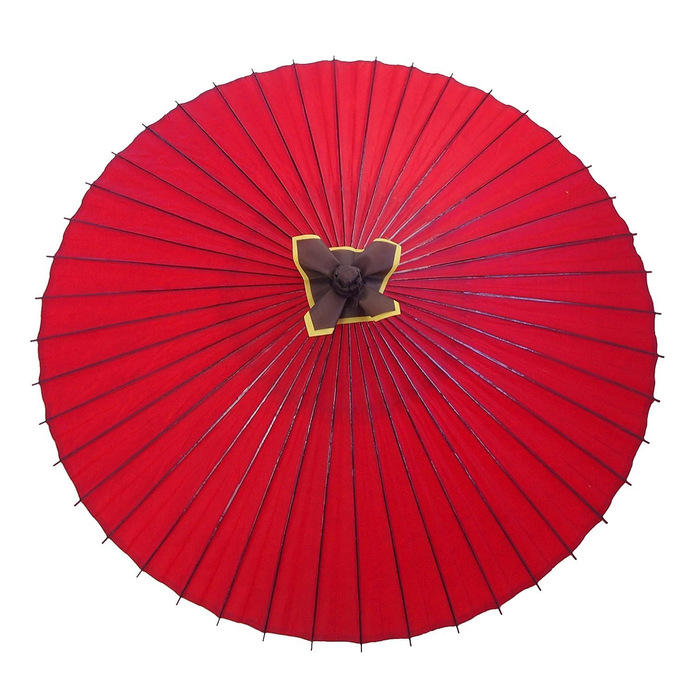 蛇の目傘 無地 赤 実用蛇の目傘 雨傘 防水加工 B01CCYUE2U