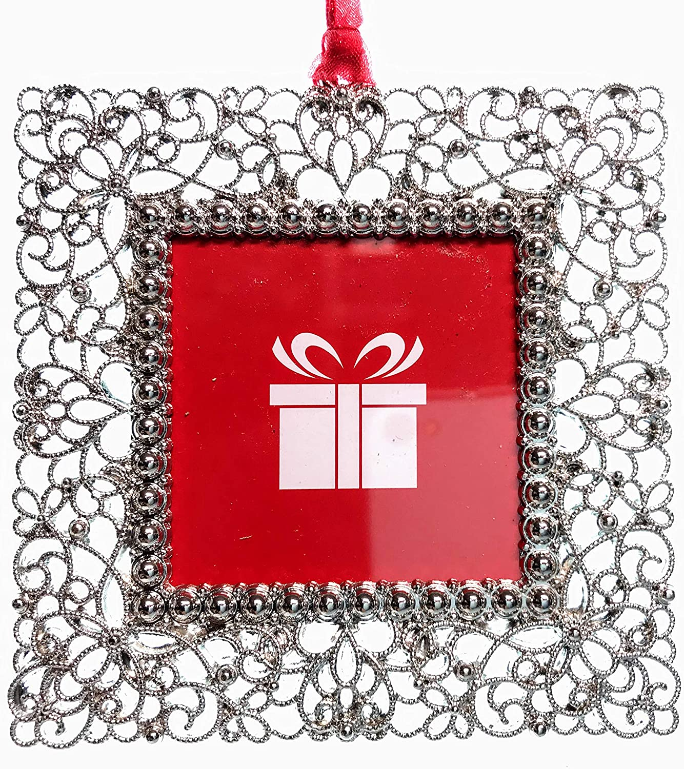New Studio Decor 2018 Round Red Silver Christmas Holiday Photo Frame Ornament