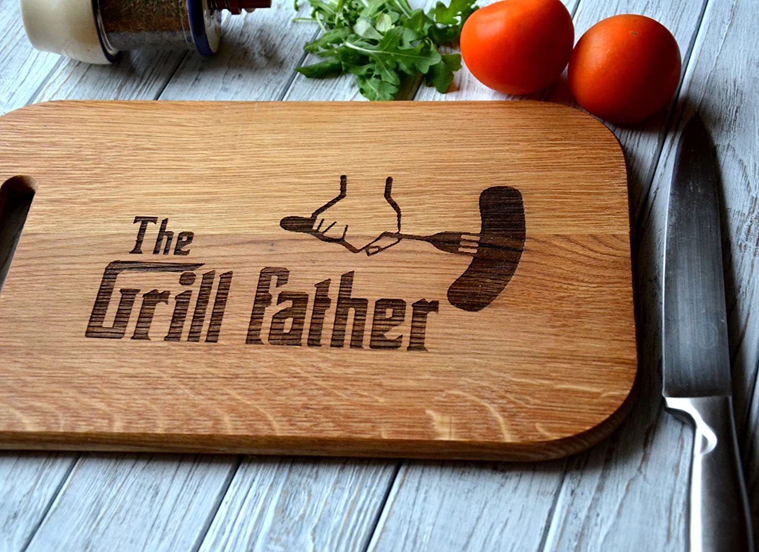 Cutting Wooden Board Fathers Day Gift idea for Father Engraved Personalized Birthday Housewarming New Home gift Dad Men Husband 14.5 x 9.25