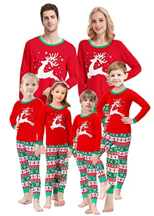 2fe66c45096b Matching Family Christmas Pajamas Boys Girls Elk Jammies Children Gift Set  Size 2