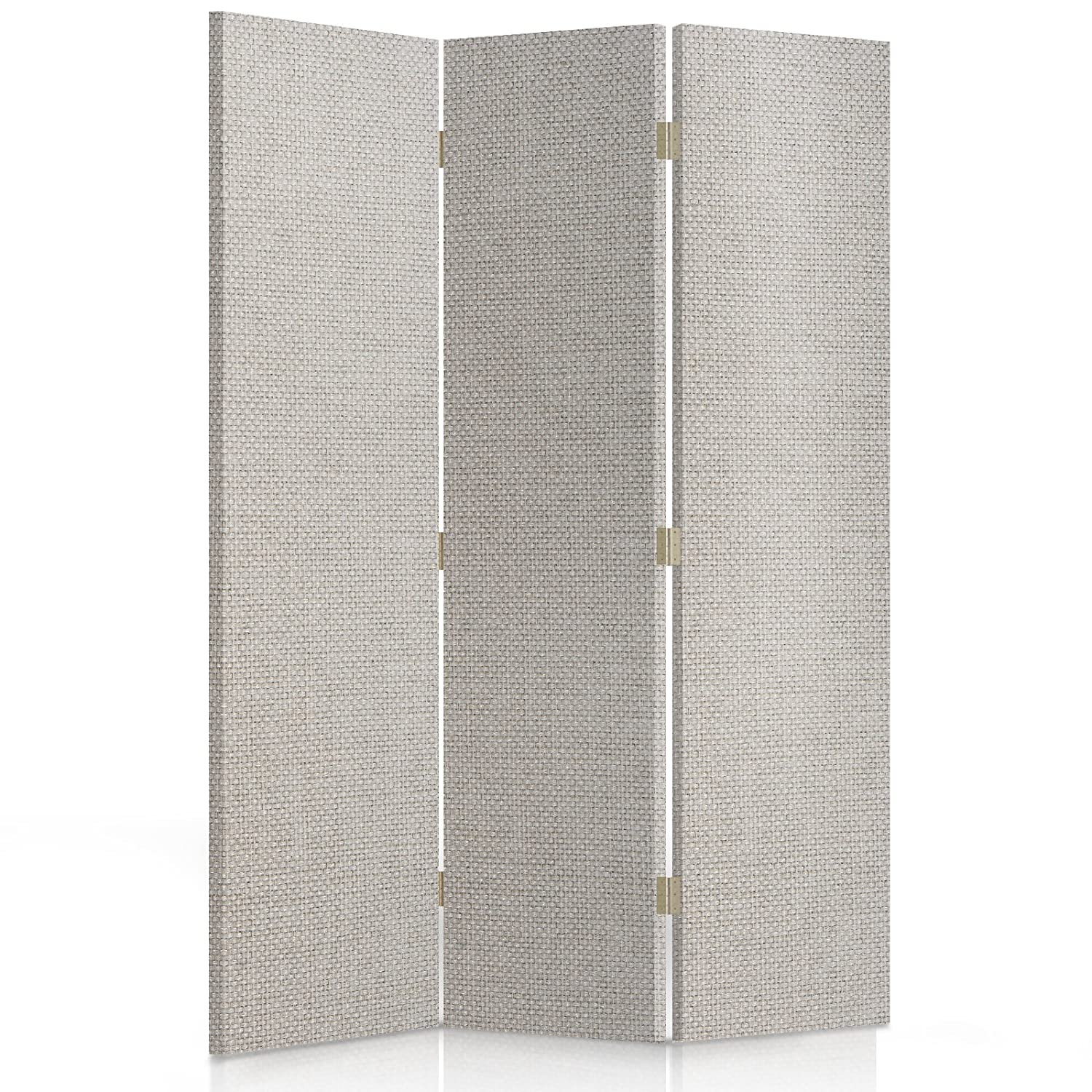 Feeby Frames, Fabric divider screen, Textile Paravent, Canvas Screen, Decorative Room Divider, Single sided, 3 panels (110x150 cm) GLAMOROUS, MODERN, BEIGE