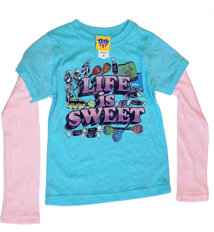 Junk Food Girls Life is Sweet Candy 2Fer T-Shirt Size Girls 4 Blue